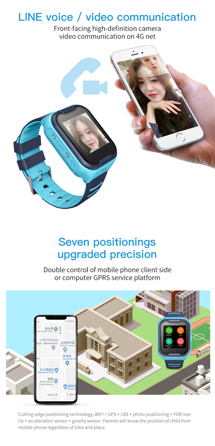 4GビデオKids Smart Watch Kids GPS Tracker Child Watch Phone Digital SOS Alarm Clock Camera Phone WatchためChildren