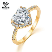 High Class Micro Pave Jewelry With Heart Imprint Gold Plated Engagement Wedding Ring For Party Women
