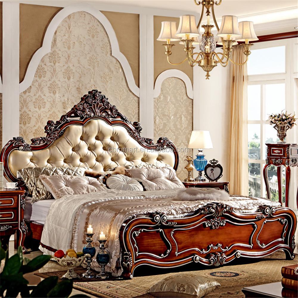 Luxury bedroom furniture rubber wood princess bed ms102