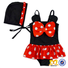 Cute Baby Red Polka Dots Bowknot Swimsuit With Hat Baby Dress Swimwear One Piece Ruffle Swimsuit