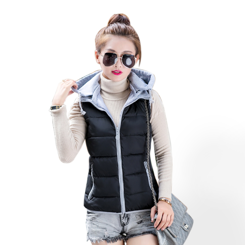 Winter Cotton Hooded Vest Women Patchwork Zipper Casual Coat 2015 Fashion Warm Vests Outerwear Veste Femme Colete Feminino