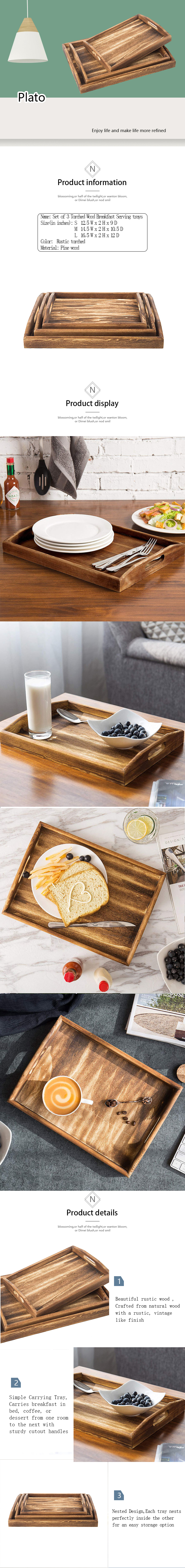 Set of 3 Torched Wood Rectangular  Breakfast, Coffee Table/Butler  Serving Trays