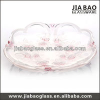 special flower shape cheap glass beaded charger plate,decorative glass plate,glass plate GB1737XMG/PDS