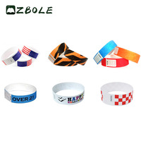 Promotional Cheap Disposable Waterproof Neon Colors Tyvek Wristband For Events