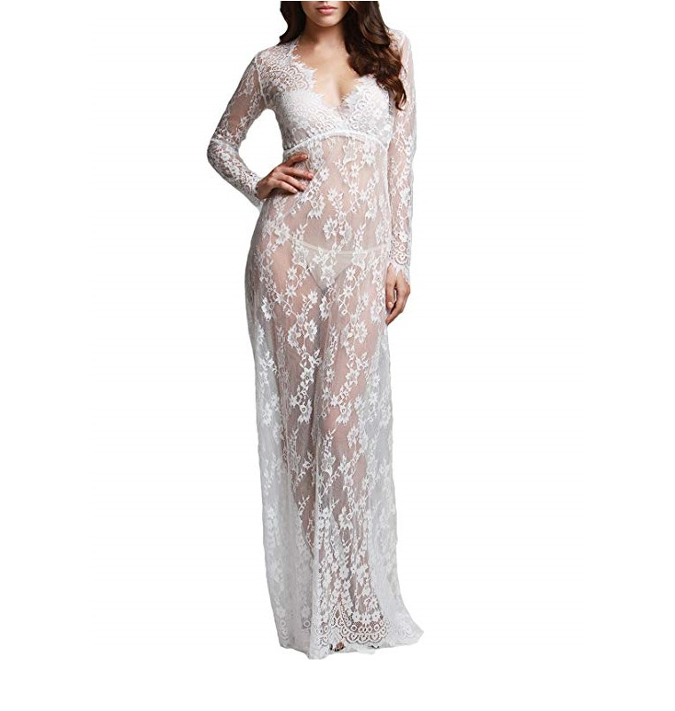 2019 <strong>Maternity</strong> Sexy Deep V-Neck Long Sleeve Lace See Through Maxi <strong>Dress</strong> for Beach