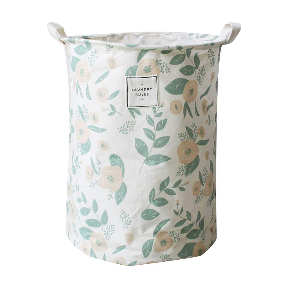 Creaon Storage Basket Durable Cotton Canvas Unique Design Printed Flower Pattern Dirty Clothes Basket Storage Bin(Light Green)