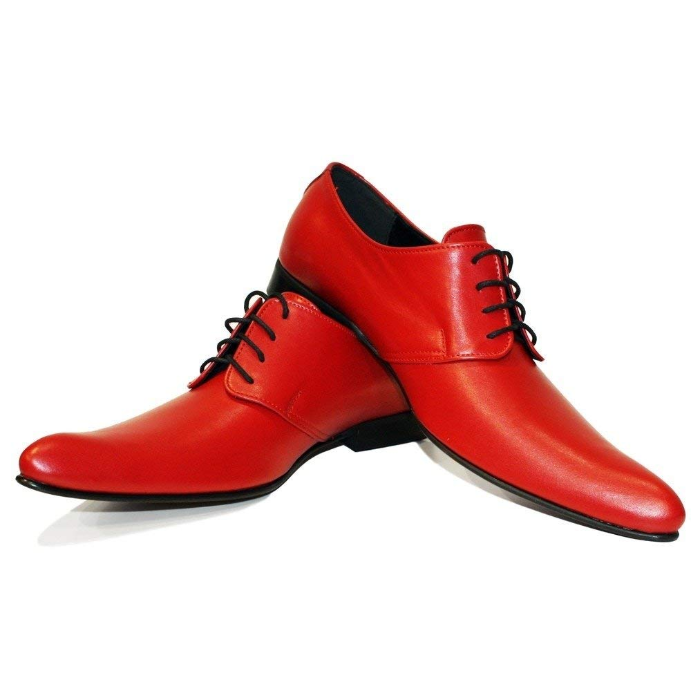 Modello Polipo - Handmade Italian Mens Red Oxfords Dress Shoes - Cowhide Smooth Leather - Lace-up