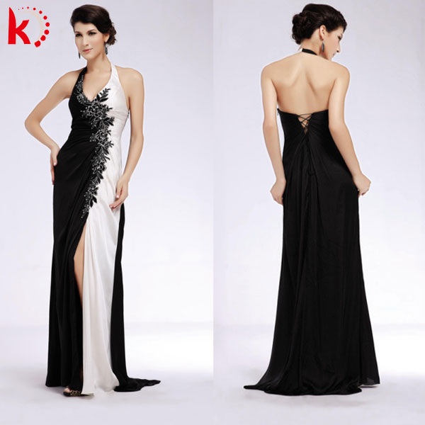 Backless Black-white Classic V-neck Chinese Style Satin New Dress ...