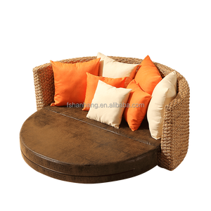 Comfortable Rattan Wicker Round sofa bed Living Room Furniture
