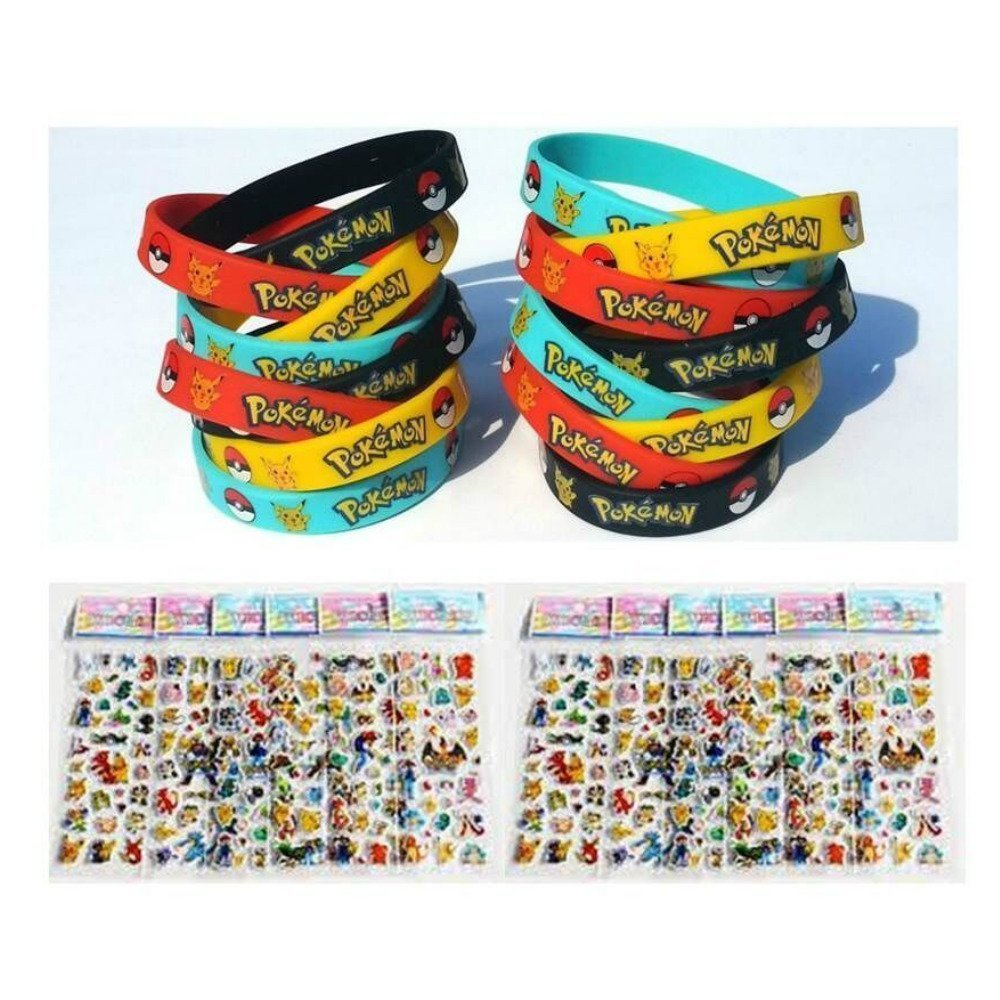 Bundle (16 Count) Pokemon Style Party Supplies Silicone Wristband Bracelet Favors & BONUS (16 Sheets) Pokemon Style Stickers