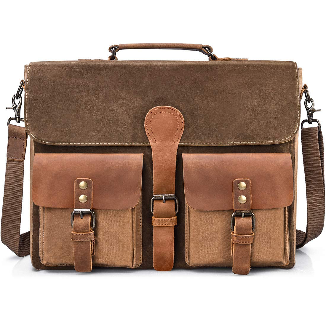 f081548e97 Get Quotations · Mens Messenger Bag Vintage Genuine Leather Large Laptop  Briefcase 15.6 Inch Waterproof Waxed Canvas Satchel Shoulder