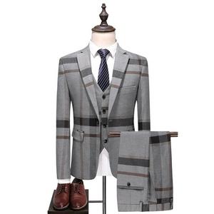 3378422d2e mens slim suit. Add to Favorites. 2019 latest design 3 piece tuxedo slim  fit color grey TR plaid vest coat pant men