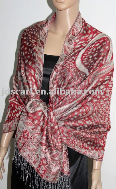 JDP-300_01#: polyester scarf with leopard and paisley pattern