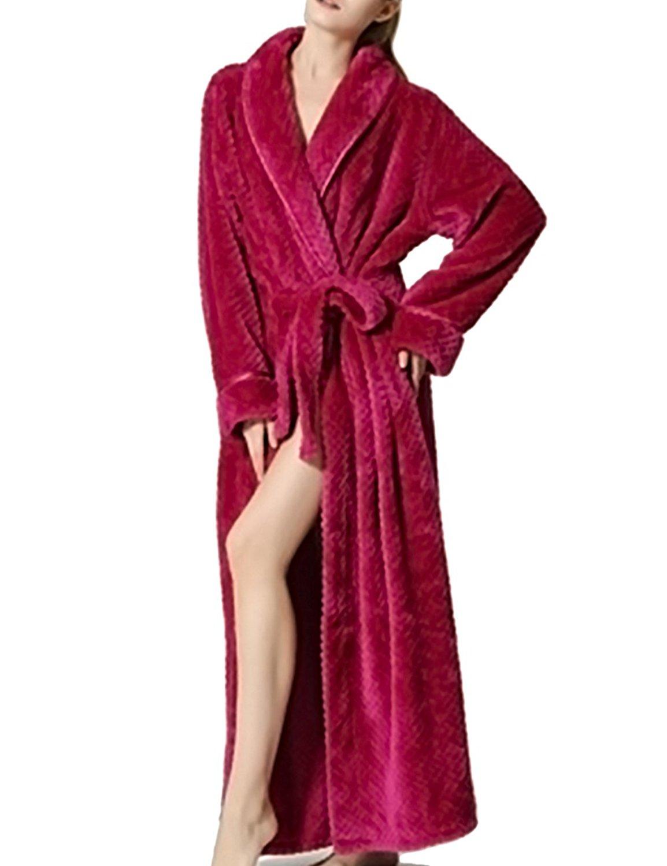 576273a95e Get Quotations · Wishment Unisex Warm Winter Soft Flannel Sleepwear Fleece  Loungewear Fluffy Gown Bath Robe Wrap Robe Housecoat