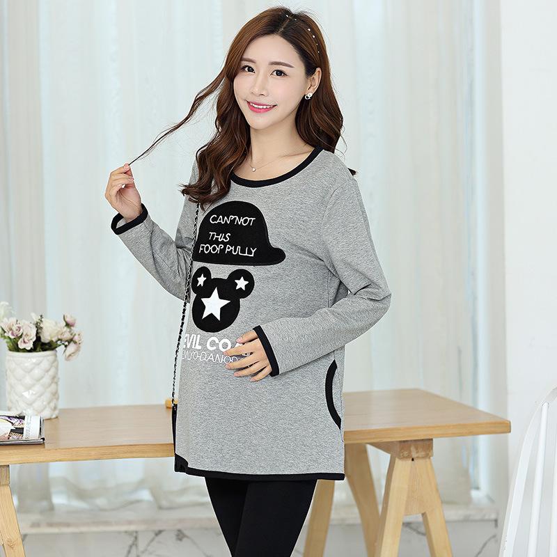 Ткань беременным шляпа с длинными рукавами пальто 2016 корейский весной - беременные женщины футболка TT-113