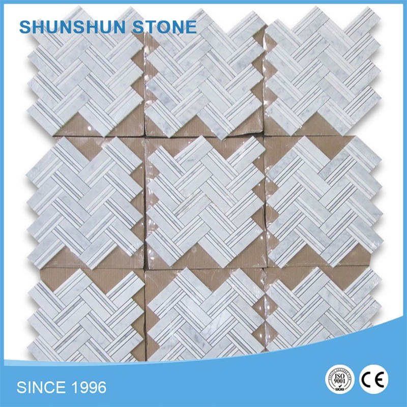 "Good quality Carrara Marble 1""x4"" Herringbone Mosaic Tile Thassos Lines For Wall / Floor"