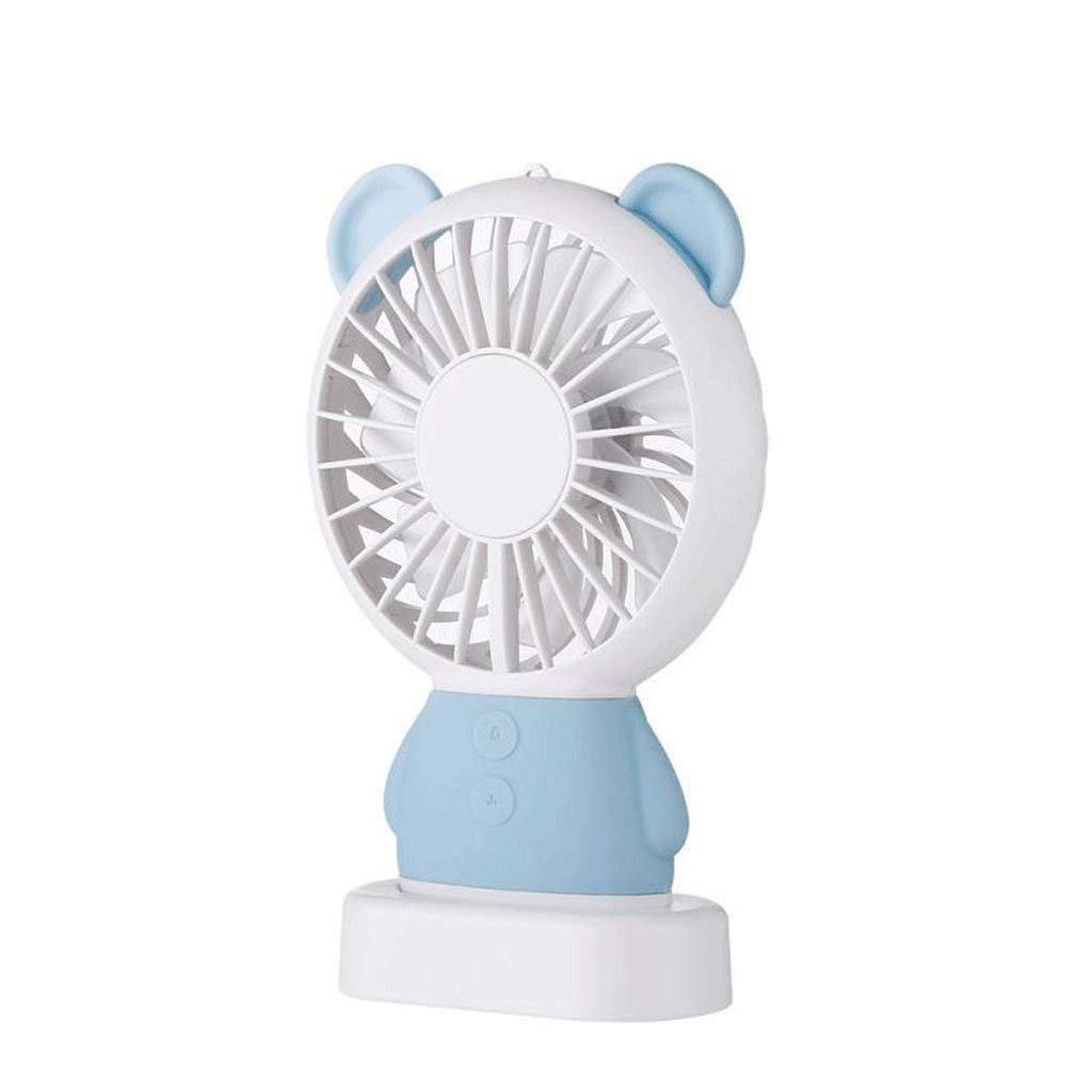 Mini Portable USB Charging Fan, Handheld Fan Mini Rechargeable Portable Student Hostel Bed Small Fan, Family Travel Outdoor Fan (Color : Blue)