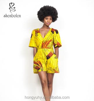 4c99636c489b Source M40938 Summer hot selling! Fashion African print clothing short  sleeve v-neck jumpsuit women wholesaler on m.alibaba.com