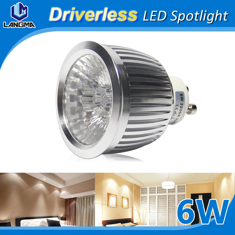 Top Quality Dimmable New-Tech 6W GU10 Non-Driver LED Spotlight AC220V COB Driverless Indoor Spot Light Lamp