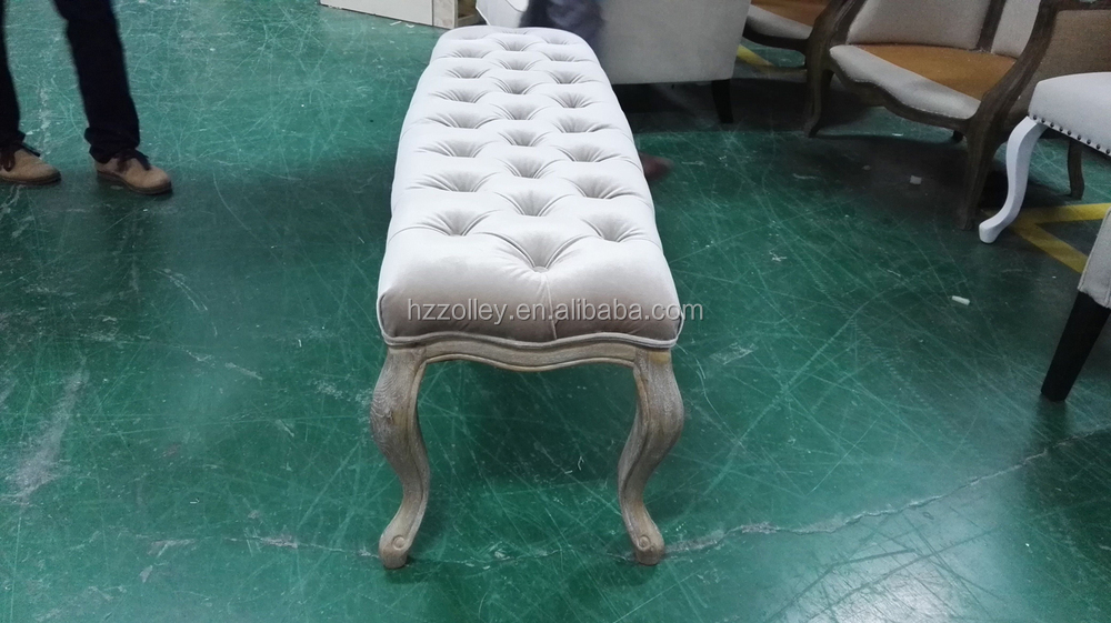 Pie de cama heces cama de madera taburetes laterales de estilo ...