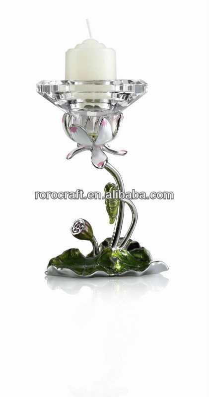RORO Harmony water lily enamel crystal glass candle holder