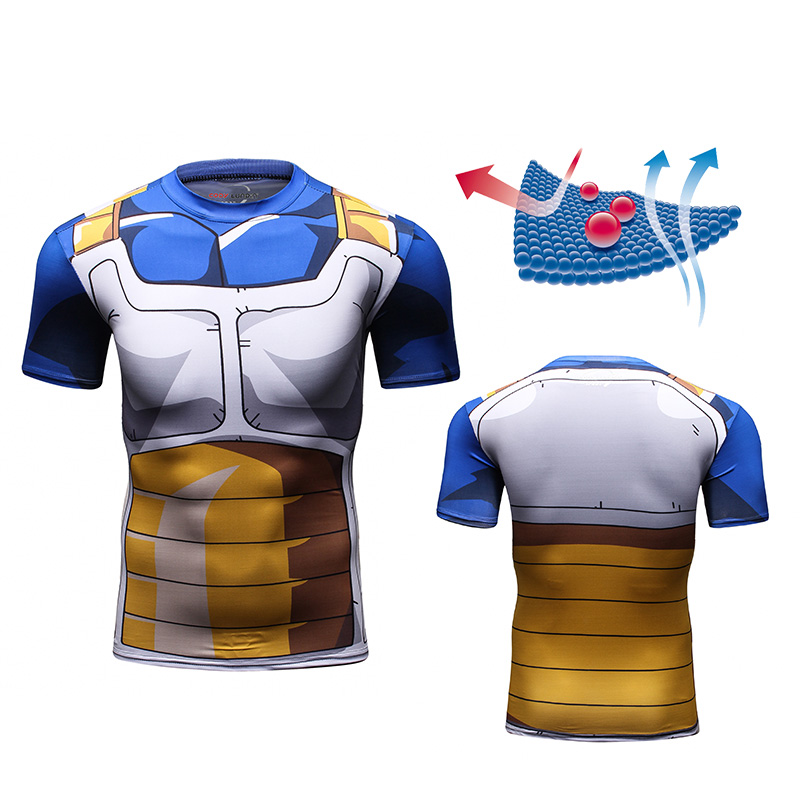 Ultimo Disegno di Dragon Ball Z Vestiti Mens Goku Vegeta 3d Stampa Anime T-Shirt