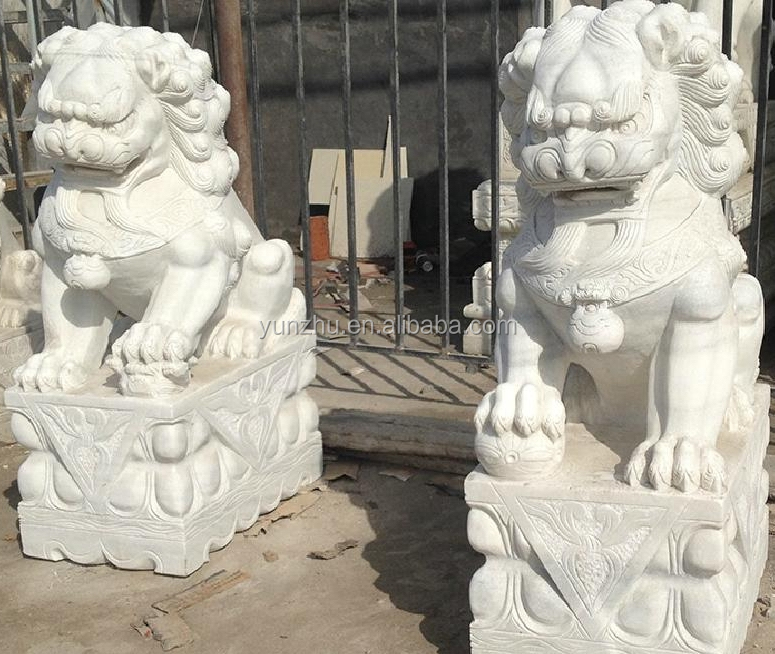 Pair White Marble Chinese Fu Dog Hand Carved Cast Stone Lion Statue for Gate Doorway Garden Park Public