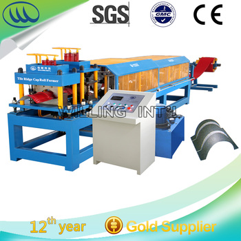 Hangzhou China automatic galvanized tile ridge cap machine steel tile roll forming machine