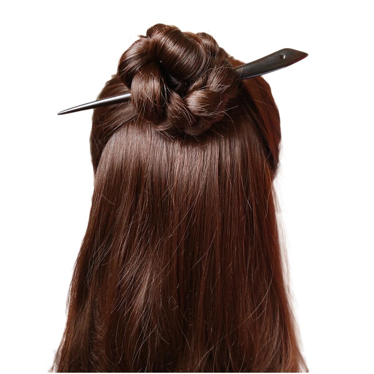 FANTAC CRAFTS Women Girl Vintage Retro Handmade Carved Ebony Black Wood Hair Stick Simple Hairpin Chignon Pin Bun Updo Tool Hair Accessories (ebony hair stick)