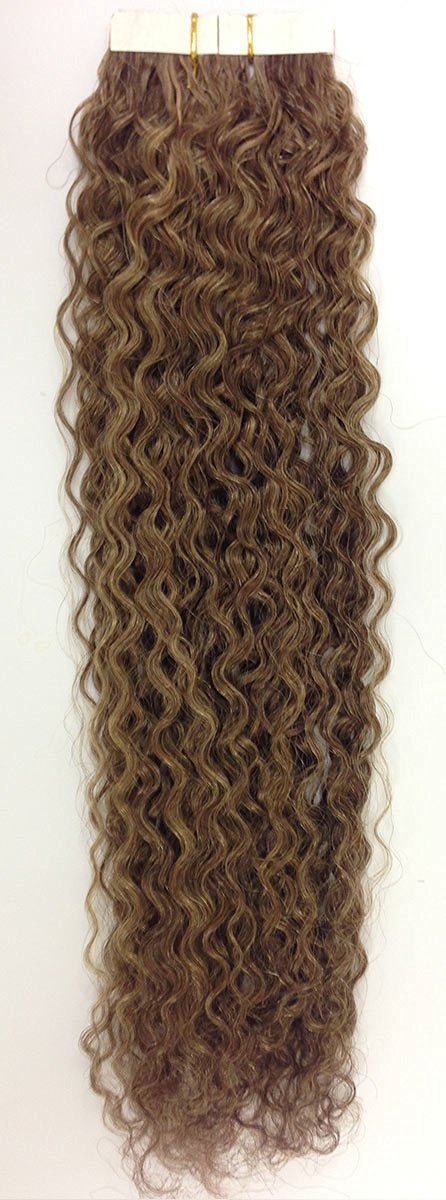 Seamless Hair Extensions Color: 4/27 Brownie Caramel - Curly