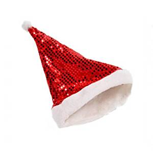HuntGold 2X Paillette Sequins Design Christmas Cosplay Santa's Party Happy Soft Warm Hat Cap(red)