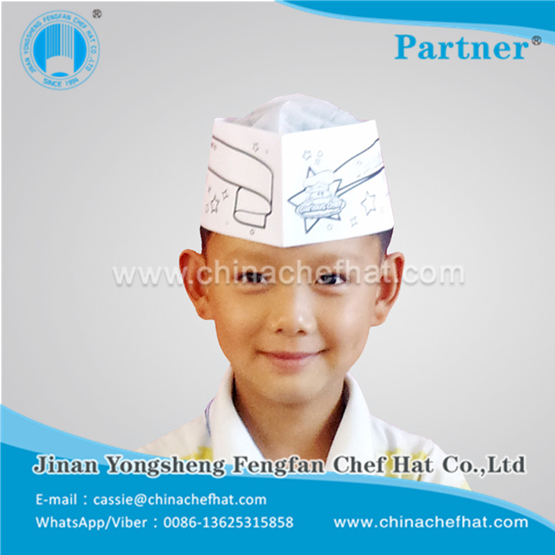Hotel Restautant Recycled Paper High Disposable Chef Hat Child Chef Hat 2017 Sale