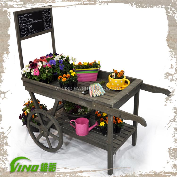Antiguo jard n carro de madera carro de jard n maceta for Carritos de madera para jardin