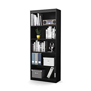 "Smart Basics 5-Shelf 68 3/4"" Home Office Bookcase Storage, Ideal for All Your Small and Medium Sized Household Items, Features 5 Open, Practical and Accessible Compartments, Black + Expert Guide"