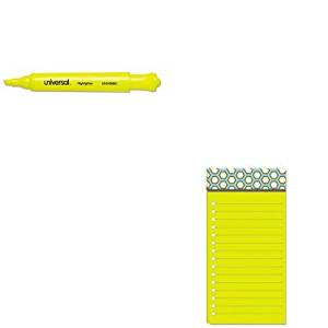 KITMMM7366OFF3UNV08861 - Value Kit - Post-it Assorted Printed Note Pads (MMM7366OFF3) and Universal Desk Highlighter (UNV08861)