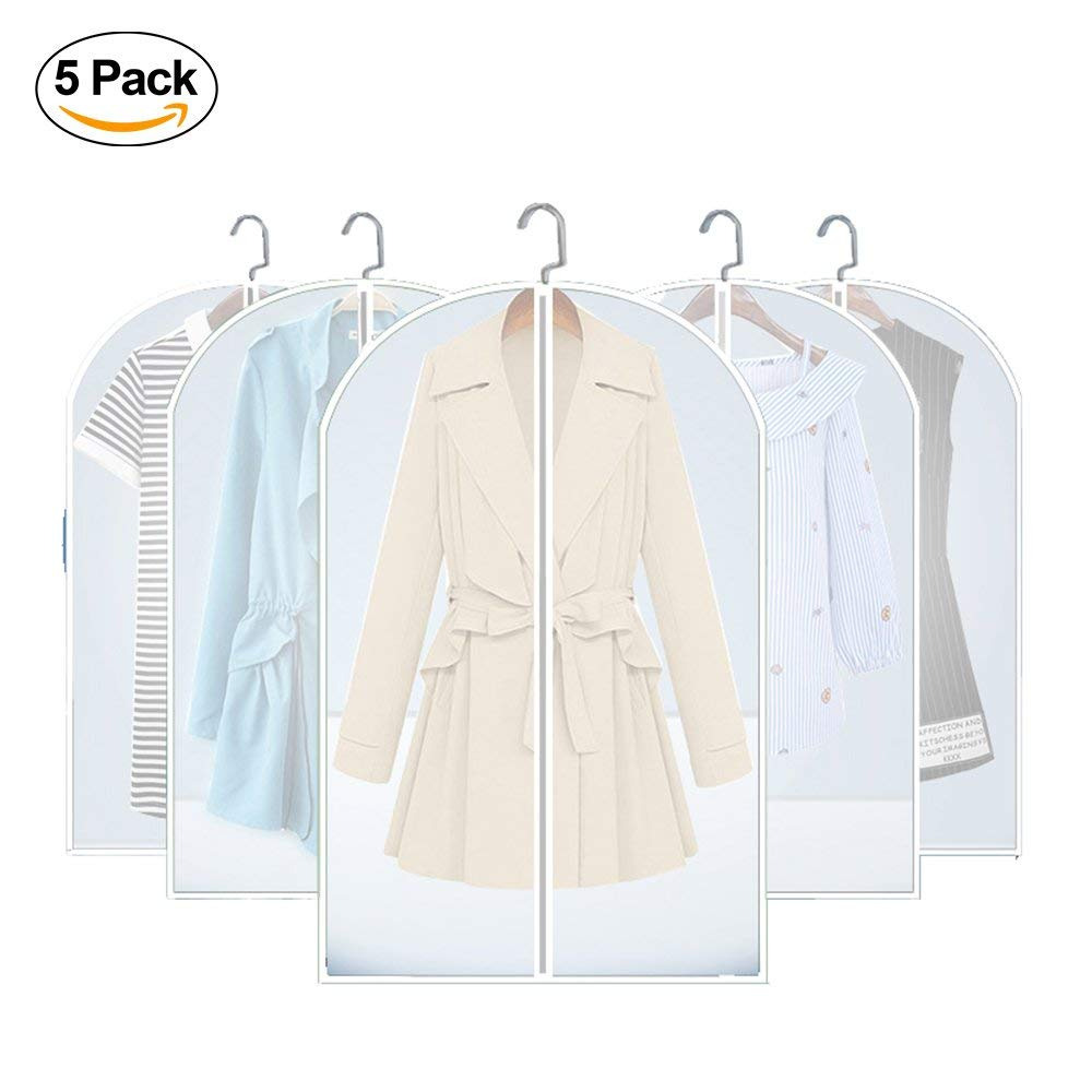 5 Pack Hanging Garment Bags,Foldable Breathable Moth-proof Medium & Large Clothes Storage Bags Set,Sturdy Full Zipper Clear Suit Bag Organizer (24 x 40 inch)