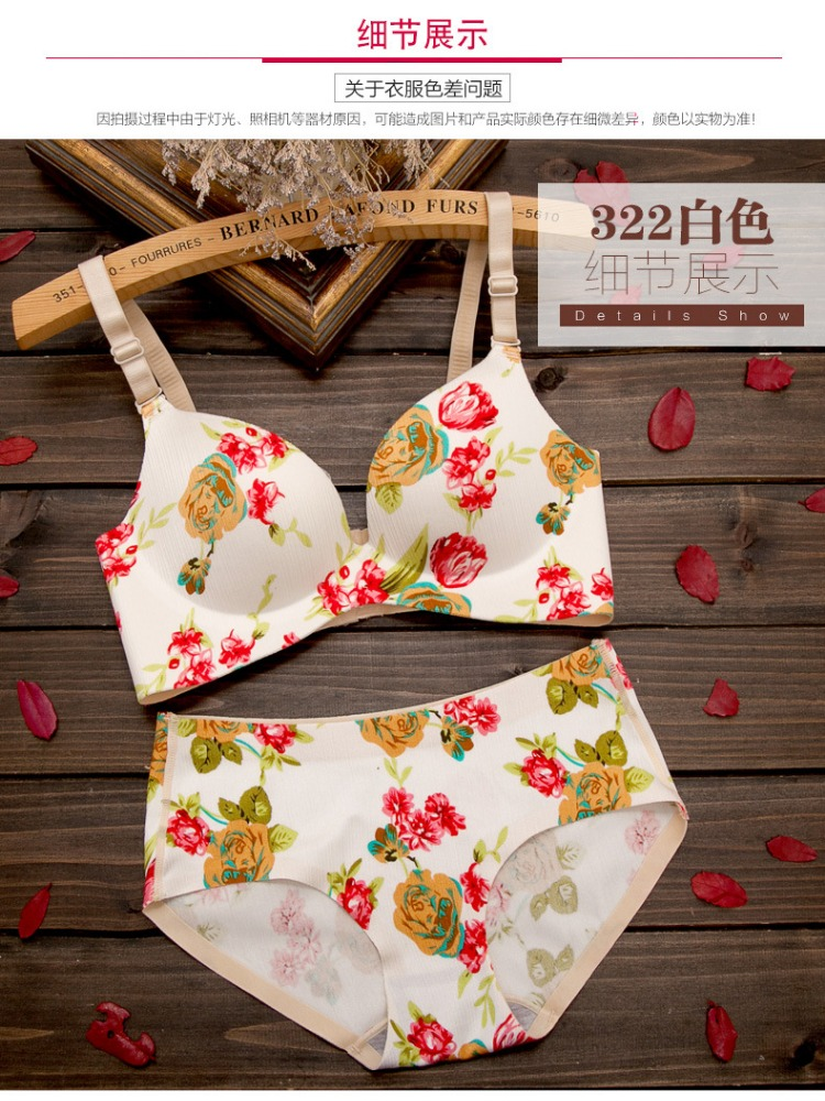 We Have Stocks two Colors Design Ladies Printed Europe Underwear +Sexy Briefs Push Up Bras set Lingerie women underwear