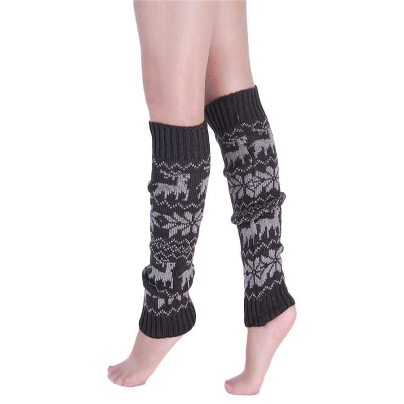 Роман дизайн мода женщин вязание снежинка олень форма лосины гольфы грелки ноги новый сс