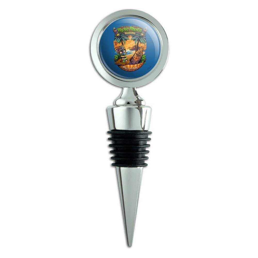 Freaky Friends Tiki Bar Tropical Vacation Wine Bottle Stopper
