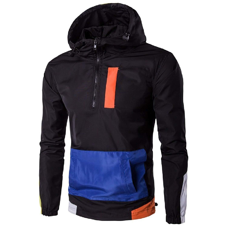 FieerMen Leisure Windproof Hood Pullover Trench Jacket