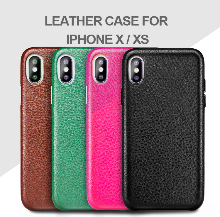 Good quality custom color full covered protective luxury genuine leather wallet phone case for iPhone X iPhone XS