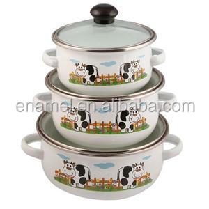 3pcs enamel cookware casserole set with glass lid