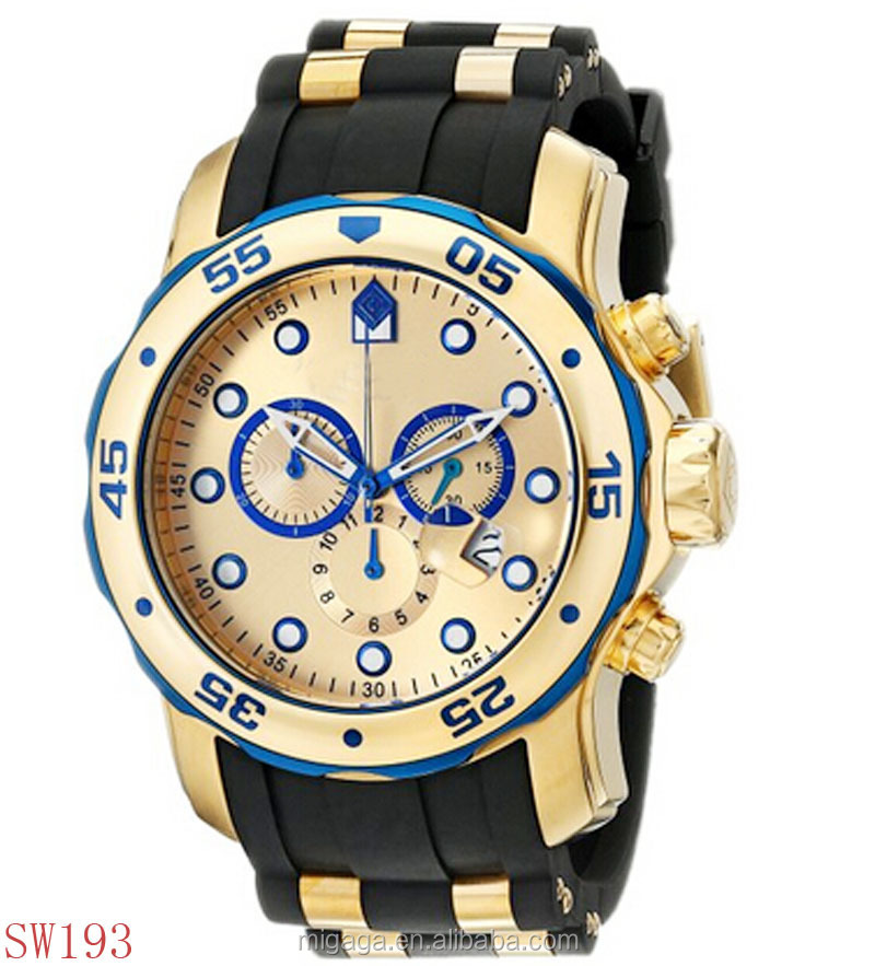 Top quality 3 time zones 6 pointers stainless steel golden watch