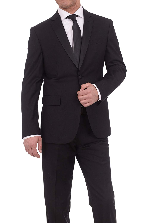 fbc29be90c7 Get Quotations · Braveman Slim Fit Solid Black Two Button Tuxedo Suit With  Satin Lapel
