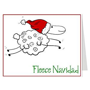 Funny, Christmas Cards, Fleece Navidad, Whimsical Holiday Season Card, Red, Greenm, Santa, Sheep, Ewe, Set of 24 Printed, Folding Greeting Cards, with White Envelopes,