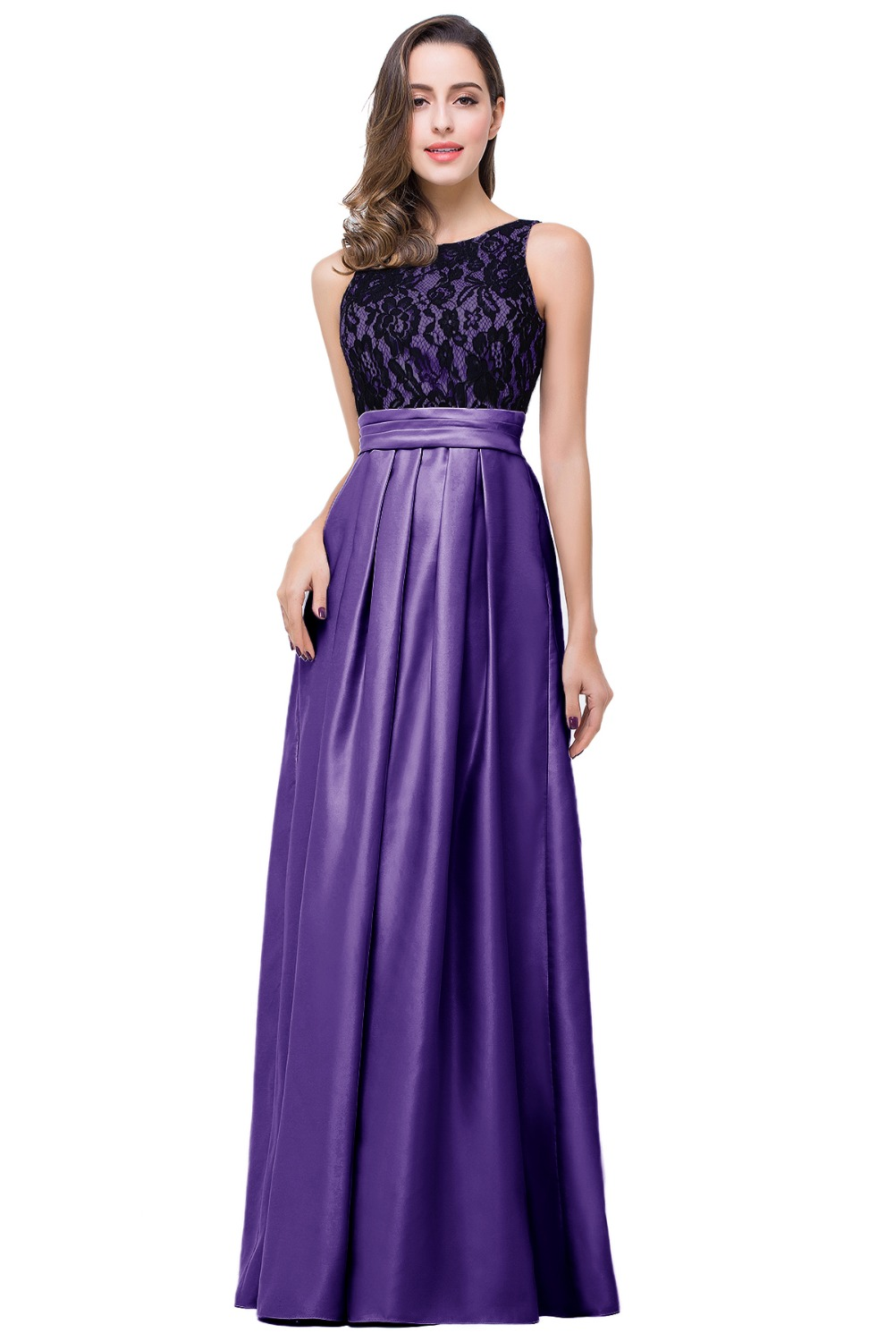 under 50 real picture robe de soiree lace long purple bridesmaid dress 2016 formal wedding. Black Bedroom Furniture Sets. Home Design Ideas