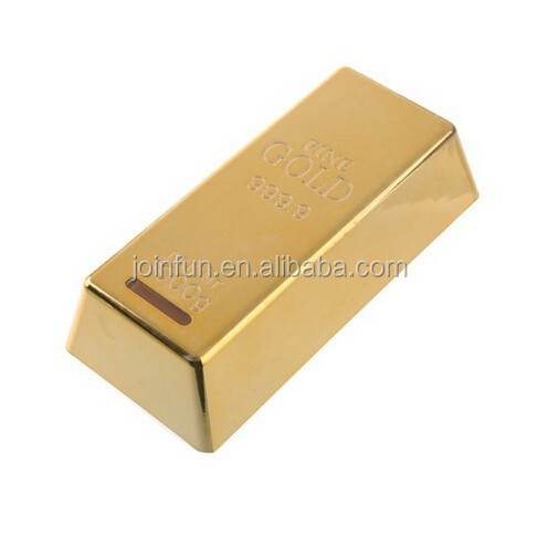 custom plastic Gold Bar Shaped Money Box Coin Bank Saving Pot