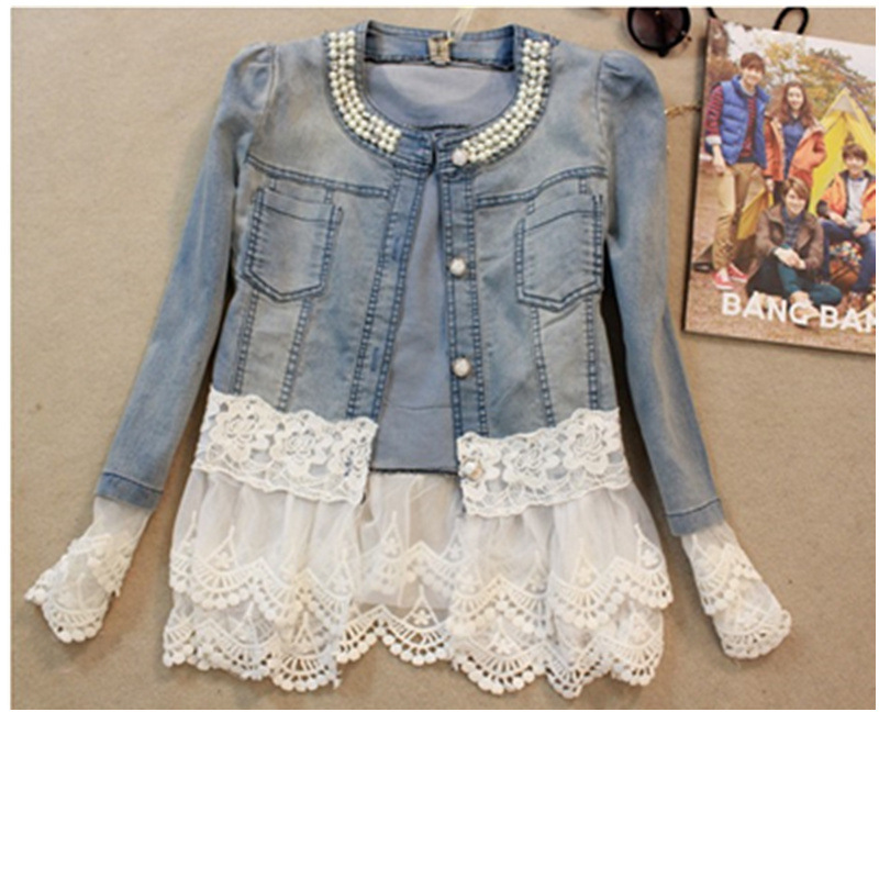 Women lace jackets jeans women plus size denim jacket long sleeve  feminine outwear mujer 4xl Y11346