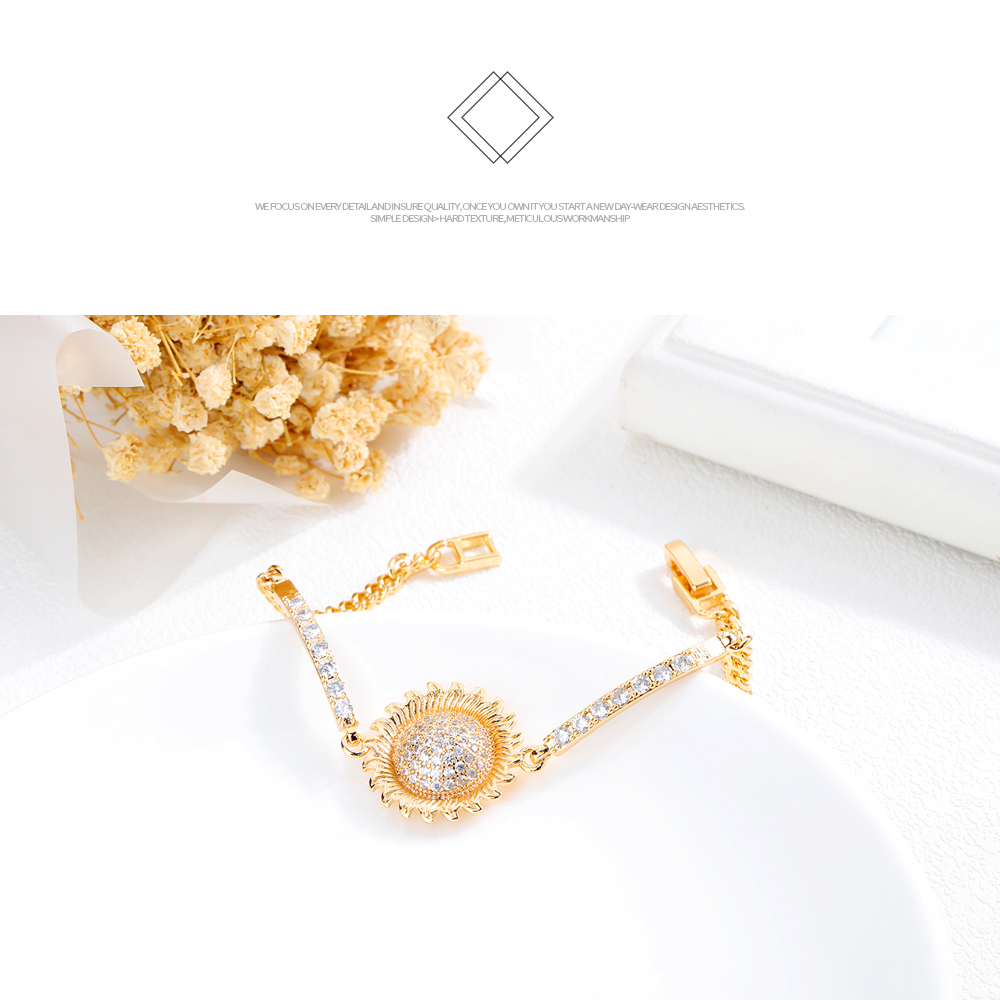 Wholesale Adjustable Gold Plated Chain Women Jewelry Cubic Zircon Bracelet