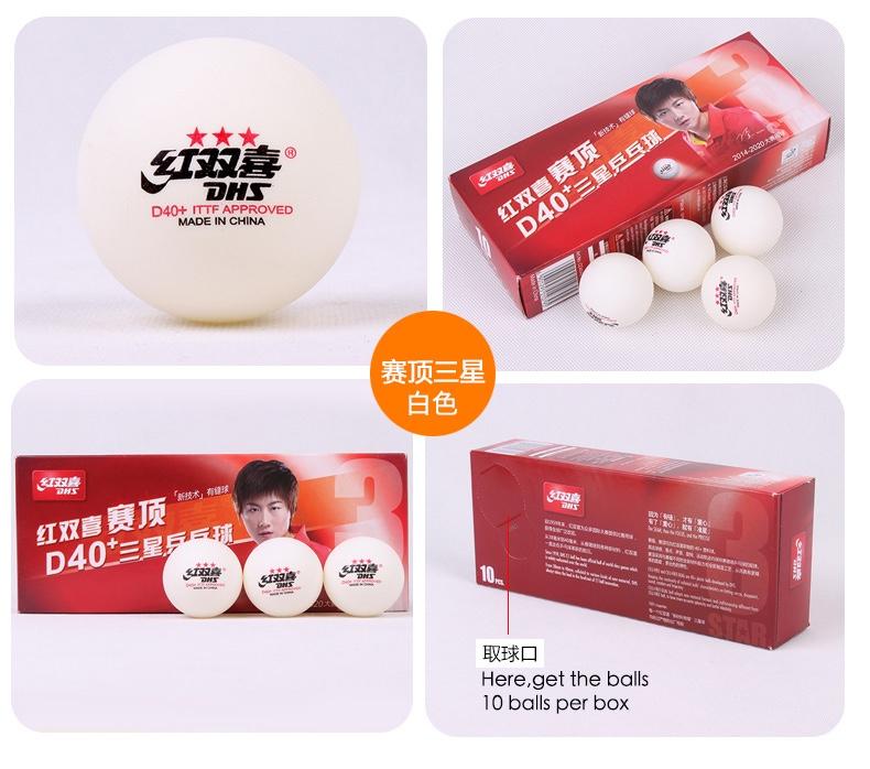 Balles de tennis de table kingnik 6 x 3-Star de nouveaux matériaux plastique blanc ITTF xushaofa